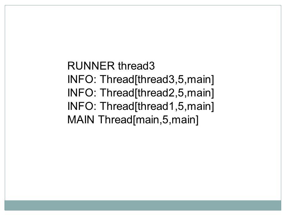 RUNNER thread3 INFO: Thread[thread3,5,main] INFO: Thread[thread2,5,main] INFO: Thread[thread1,5,main]
